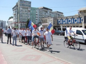 """Flacăra democrației"" a ajuns la Roman"