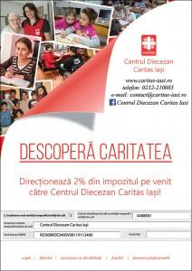 Dăruiți 2% din impozitul pe venit pentru beneficiarii Caritas